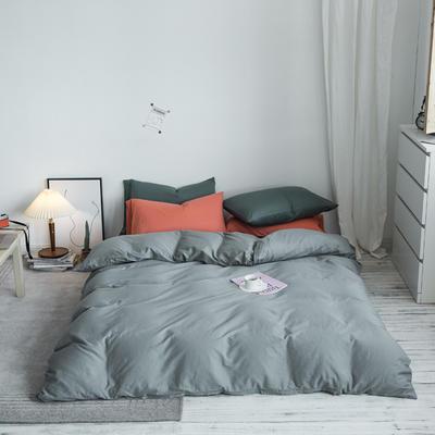 2020秋冬新款-全棉格调撞色系列四件套(白景图) 床单款三件套1.2m(4英尺)床 格调灰灰绿桔
