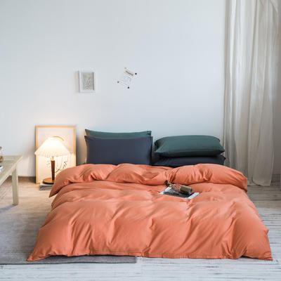 2020秋冬新款-全棉格调撞色系列四件套(白景图) 床单款四件套1.8m(6英尺)床 格调桔蓝灰绿