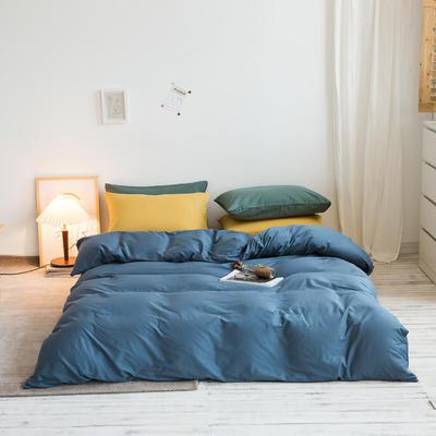 2020秋冬新款-全棉格调撞色系列四件套(白景图) 床单款四件套1.8m(6英尺)床 格调蓝黄绿