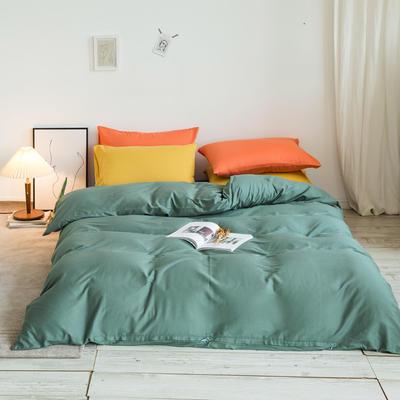 2020秋冬新款-全棉格调撞色系列四件套(白景图) 床单款四件套1.5m(5英尺)床 格调绿蓝桔黄