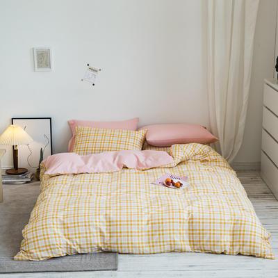 2020秋冬新款-全棉格调撞色系列四件套(白景图) 床单款四件套1.5m(5英尺)床 芒果格粉兰
