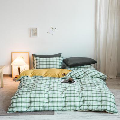 2020秋冬新款-全棉格调撞色系列四件套(白景图) 床单款四件套1.5m(5英尺)床 抹茶格黄蓝绿