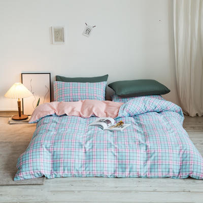2020秋冬新款-全棉格调撞色系列四件套(白景图) 床单款四件套1.8m(6英尺)床 学院格粉桔绿