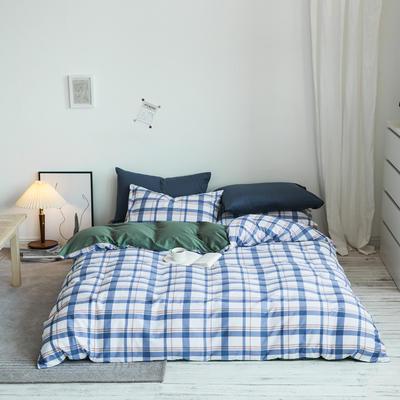 2020秋冬新款-全棉格调撞色系列四件套(白景图) 床单款三件套1.2m(4英尺)床 英伦格绿灰蓝