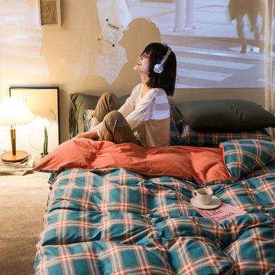 2020秋冬新款-全棉格调撞色系列四件套(夜景图) 床单款四件套1.5m(5英尺)床 布丁格桔蓝绿