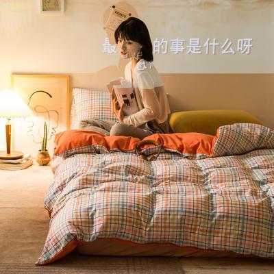 2020秋冬新款-全棉格调撞色系列四件套(夜景图) 床单款四件套1.5m(5英尺)床 多彩格桔粉黄