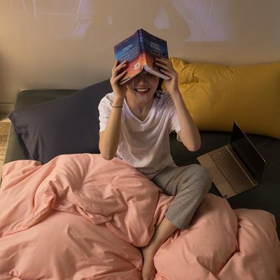 2020秋冬新款-全棉格调撞色系列四件套(夜景图) 床单款四件套1.5m(5英尺)床 格调粉绿蓝黄