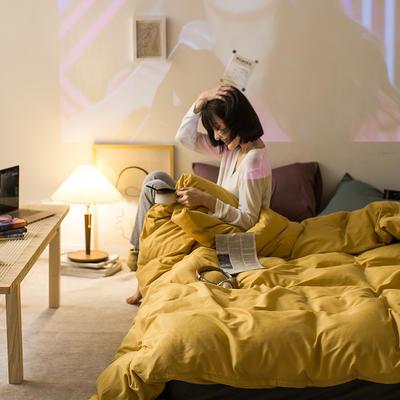 2020秋冬新款-全棉格调撞色系列四件套(夜景图) 床单款四件套1.5m(5英尺)床 格调黄绿咖