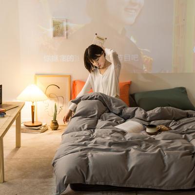 2020秋冬新款-全棉格调撞色系列四件套(夜景图) 床单款三件套1.2m(4英尺)床 格调灰灰绿桔