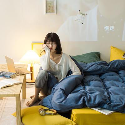 2020秋冬新款-全棉格调撞色系列四件套(夜景图) 床单款四件套1.5m(5英尺)床 格调蓝黄绿