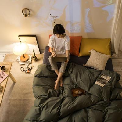 2020秋冬新款-全棉格调撞色系列四件套(夜景图) 床单款三件套1.2m(4英尺)床 格调绿蓝桔黄