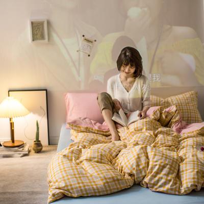 2020秋冬新款-全棉格调撞色系列四件套(夜景图) 床单款三件套1.2m(4英尺)床 芒果格粉兰