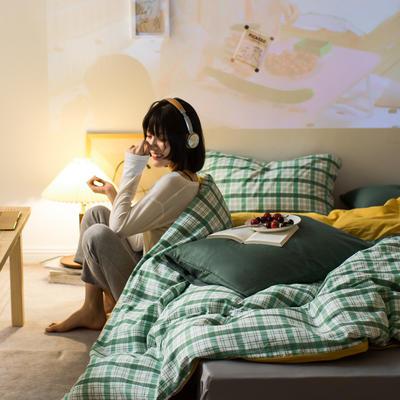 2020秋冬新款-全棉格调撞色系列四件套(夜景图) 床单款三件套1.2m(4英尺)床 抹茶格黄蓝绿