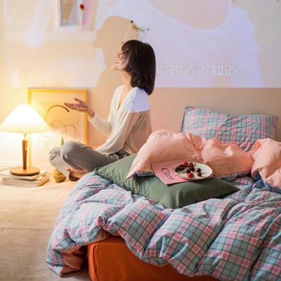 2020秋冬新款-全棉格调撞色系列四件套(夜景图) 床单款四件套1.5m(5英尺)床 学院格粉桔绿
