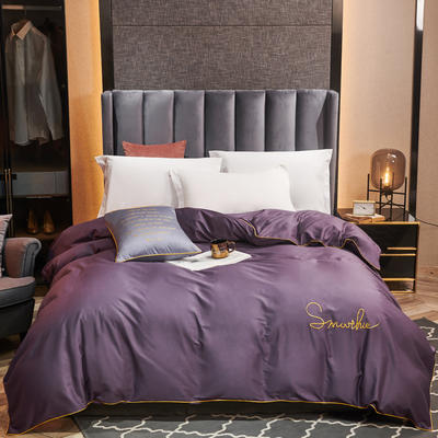 全棉40H系列刺绣轻奢景单品被套 200X230cm H深紫-单被套