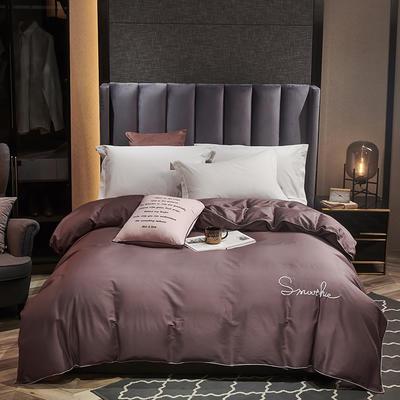 全棉40H系列刺绣轻奢景单品被套 200X230cm H紫咖-单被套