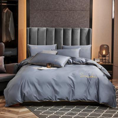 2020新款-全棉40H系列刺绣轻奢景-四件套 床单款四件套1.5m床 H兰灰