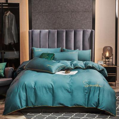 2020新款-全棉40H系列刺绣轻奢景-四件套 床单款四件套1.5m床 H浅石兰