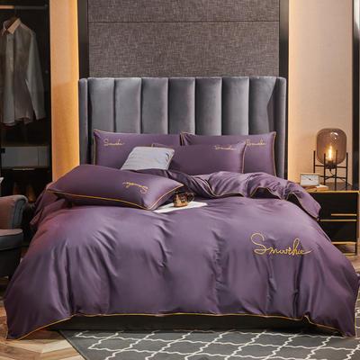 2020新款-全棉40H系列刺绣轻奢景-四件套 床单款四件套1.5m床 H深紫