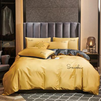 2020新款-全棉40H系列刺绣轻奢景-四件套 床单款三件套0.9m床 H双拼-姜黄灰