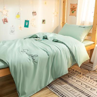 2020新款-学生全棉40H系列刺绣三件套 床笠款三件套1.2m床 H薄荷绿