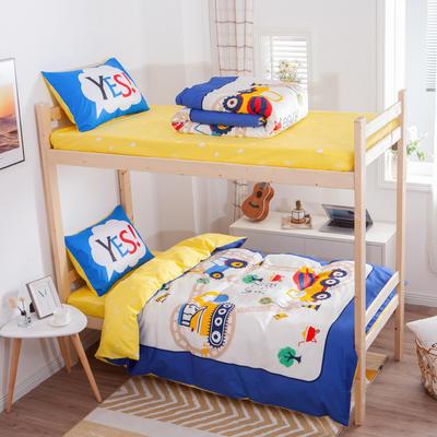 学生三件套-全棉平网大版卡通系列 床笠款1.2m床 积木