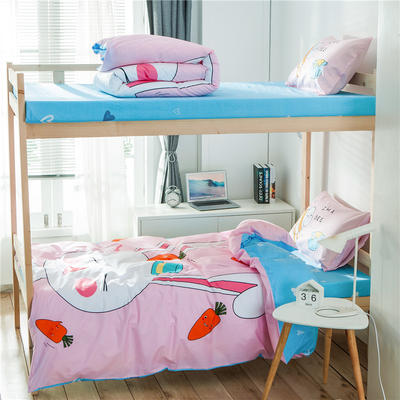 学生三件套-全棉平网大版卡通系列 床笠款1.2m床 兔宝宝