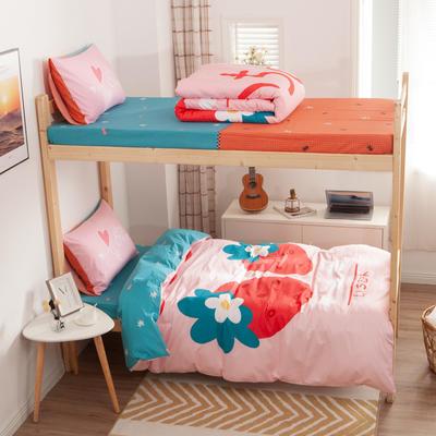 学生三件套-全棉平网大版卡通系列 床笠款1.2m床 早安