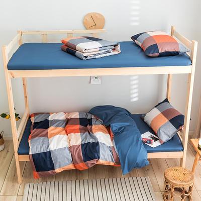 2020新款-学生三件套-全棉新英伦风系列 床笠款三件套1.2m(4英尺)床 海地