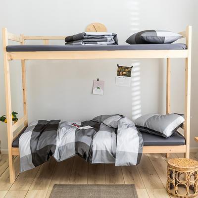 2020新款-学生三件套-全棉新英伦风系列 床单款三件套1.2m(4英尺)床 图雷-灰