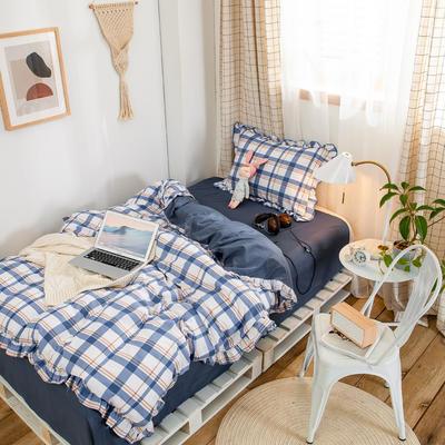 2020新款-学生三件套-全棉荷叶边格调系列 床单款1.2m床三件套 荷英伦格