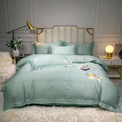 2020新款-全棉贡缎X系列刺绣款四件套 床单款四件套1.5m(5英尺)床 X-薄荷绿