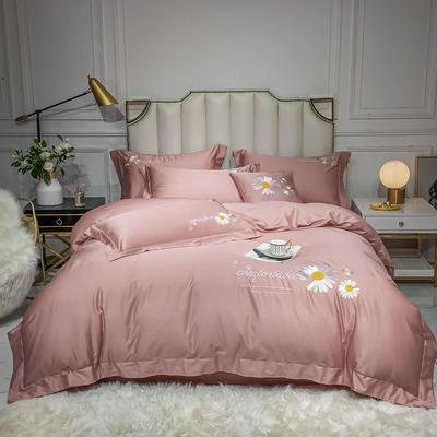 2020新款-全棉贡缎X系列刺绣款四件套 床单款三件套1.2m(4英尺)床 X-豆沙