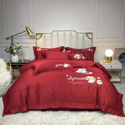 2020新款-全棉贡缎X系列刺绣款四件套 床单款四件套1.5m(5英尺)床 X-朵红