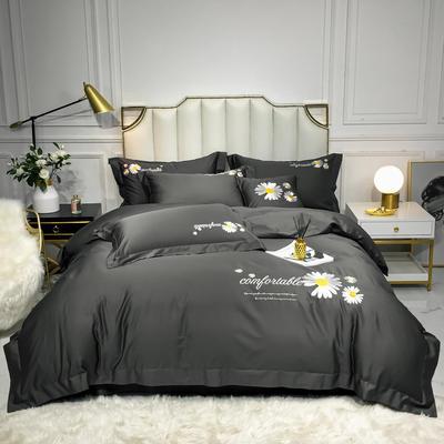 2020新款-全棉贡缎X系列刺绣款四件套 床单款三件套1.2m(4英尺)床 X-高级灰