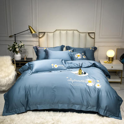 2020新款-全棉贡缎X系列刺绣款四件套 床单款三件套1.2m(4英尺)床 X-皇家兰