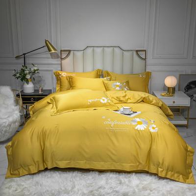2020新款-全棉贡缎X系列刺绣款四件套 床单款四件套1.5m(5英尺)床 X-姜黄