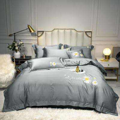 2020新款-全棉贡缎X系列刺绣款四件套 床单款四件套1.5m(5英尺)床 X-银灰