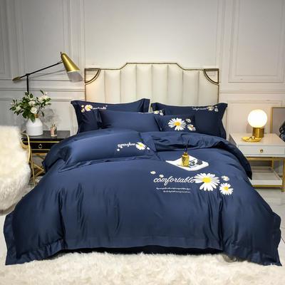 2020新款-全棉贡缎X系列刺绣款四件套 床单款四件套1.5m(5英尺)床 X-丈青