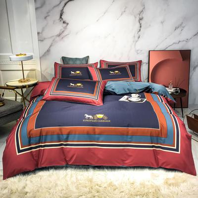 2020新款秋冬-全棉臻品轻奢平网系列四件套 床单款四件套1.5m床 皇家英伦-红紫