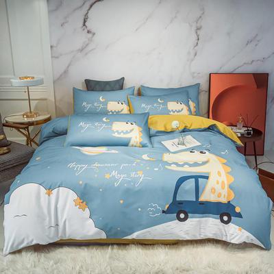 2020新款秋冬-全棉臻品轻奢平网系列四件套 床单款四件套1.5m床 快乐恐龙兰