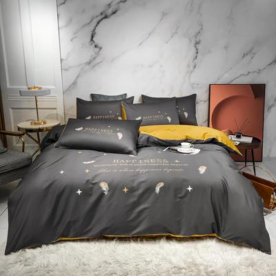 2020新款秋冬-全棉臻品轻奢平网系列四件套 床单款四件套1.5m床 莱克羽落