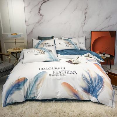 2020新款秋冬-全棉臻品轻奢平网系列四件套 床单款四件套1.5m床 墨羽