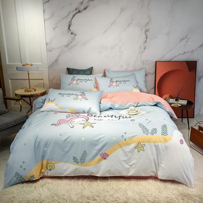 2020新款秋冬-全棉臻品轻奢平网系列四件套 床单款四件套1.5m床 人鱼公主兰