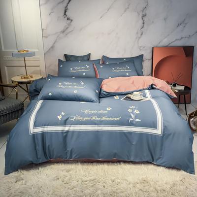 2020新款秋冬-全棉臻品轻奢平网系列四件套 床单款四件套1.5m床 颂惠-蓝