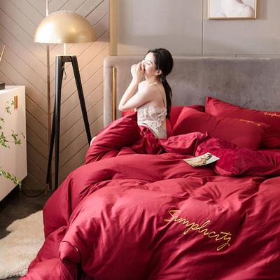 2020新款绒-刺绣款棉加绒系列四件套 1.8m床单款四件套 棉加绒-朵红+向阳红