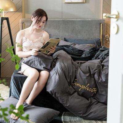 2020新款绒-刺绣款棉加绒系列四件套 1.2m床单款三件套 棉加绒-高级灰+深灰