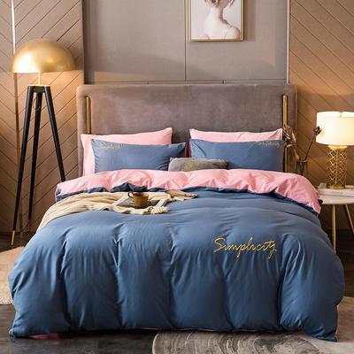 2020新款绒-刺绣款棉加绒系列四件套 1.8m床单款四件套 棉加绒-皇家蓝+粉玉