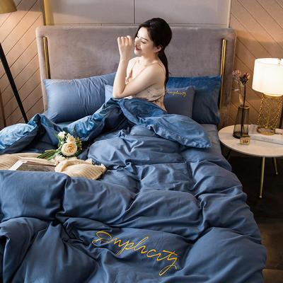 2020新款绒-刺绣款棉加绒系列四件套 1.2m床单款三件套 棉加绒-皇家蓝+海兰