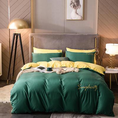2020新款绒-刺绣款棉加绒系列四件套 1.5m床单款四件套 棉加绒-墨绿+柠檬黄